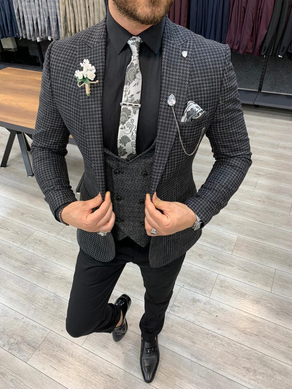 Black Slim Fit Plaid Check Suit by BespokeDailyShop.com with Free Worldwide Shipping
