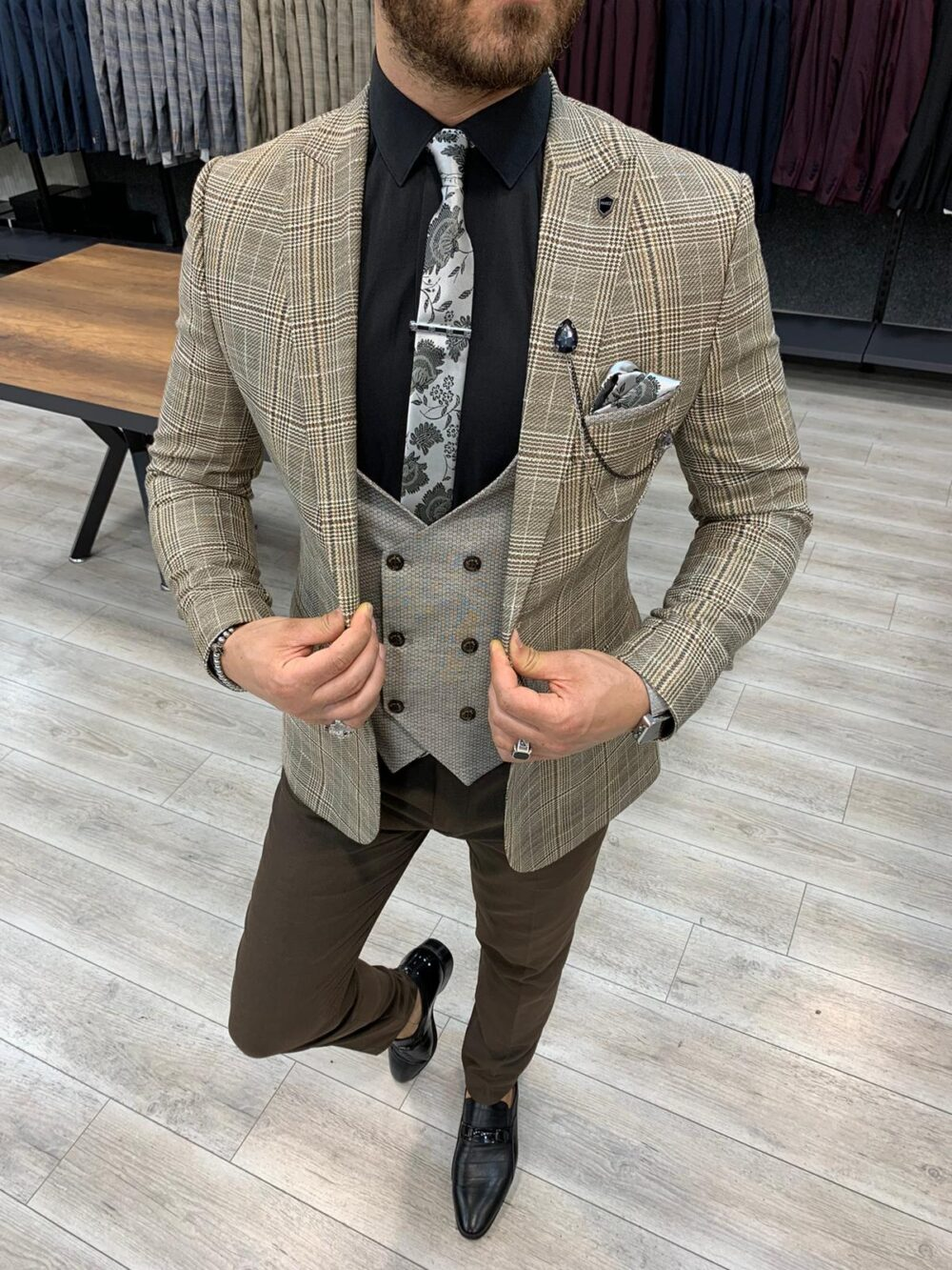 Coffee Slim Fit Plaid Suit by BespokeDailyShop.com with Free Worldwide Shipping