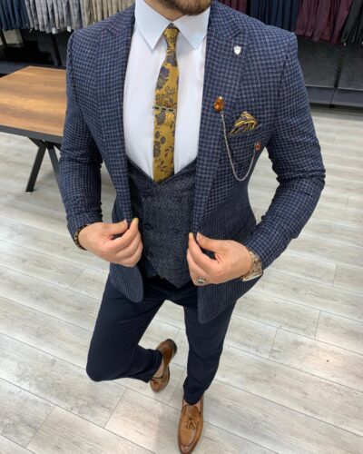 Navy Blue Slim Fit Plaid Check Suit by BespokeDailyShop.com with Free Worldwide Shipping