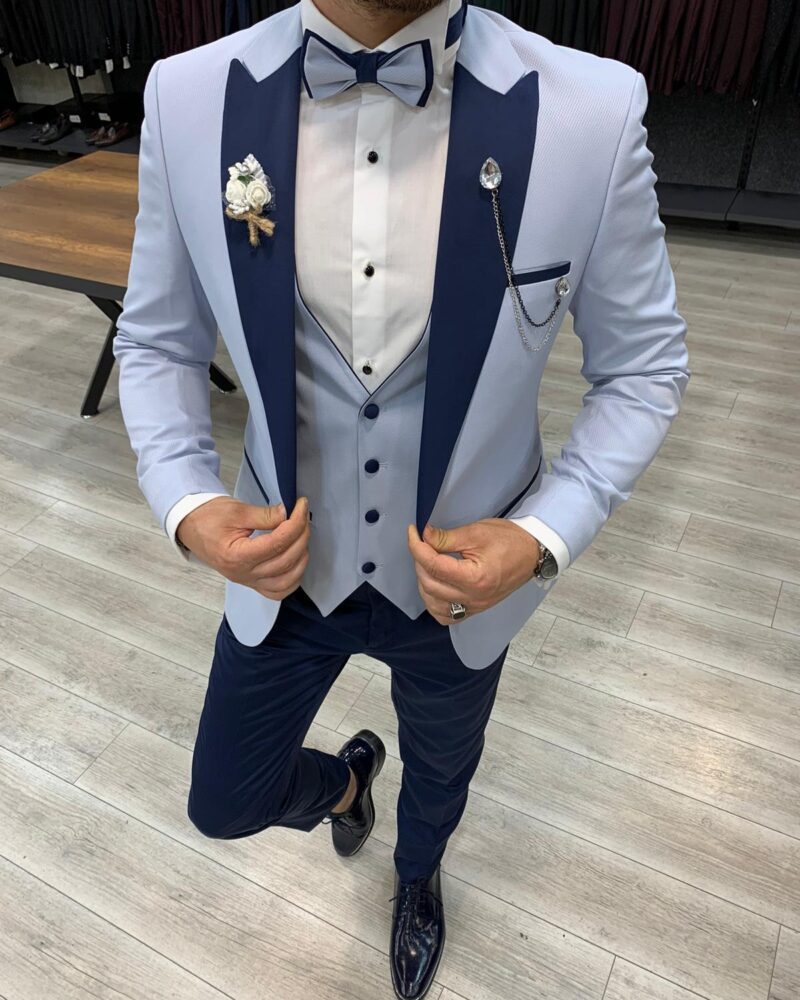 Sky Blue Slim Fit Peak Lapel Tuxedo by BespokeDailyShop.com with Free Worldwide Shipping