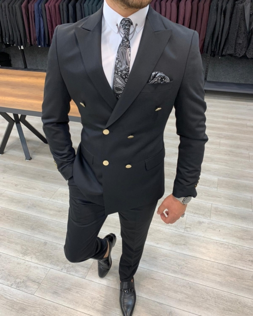 Black Slim Fit Double Breasted Suit by BespokeDailyShop.com with Free Worldwide Shipping