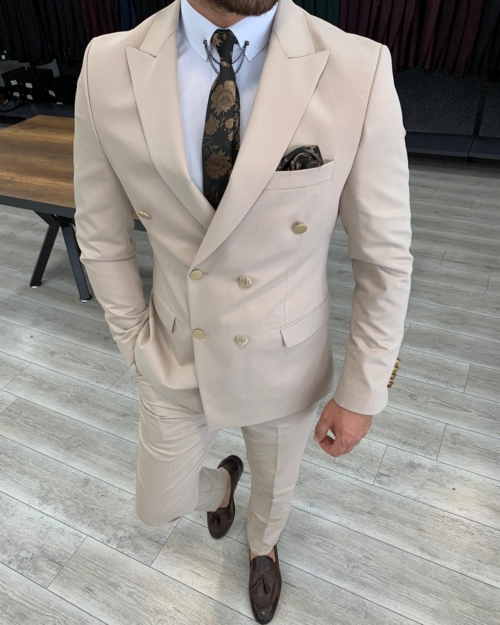 Cream Slim Fit Double Breasted Suit by BespokeDailyShop.com with Free Worldwide Shipping