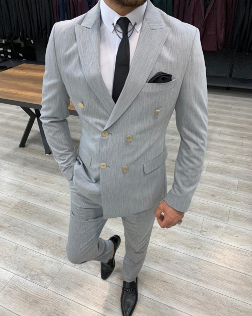 Gray Slim Fit Double Breasted Suit by BespokeDailyShop.com with Free Worldwide Shipping