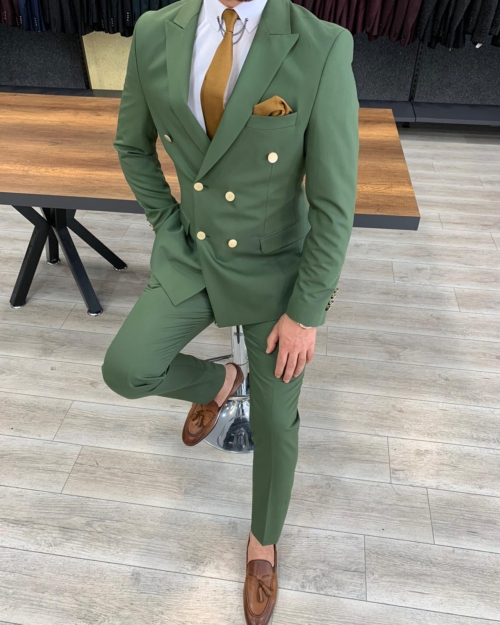 Green Slim Fit Double Breasted Suit by BespokeDailyShop.com with Free Worldwide Shipping