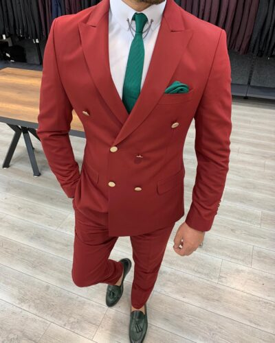 Maroon Slim Fit Double Breasted Suit by BespokeDailyShop.com with Free Worldwide Shipping