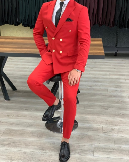 Red Slim Fit Double Breasted Suit by BespokeDailyShop.com with Free Worldwide Shipping