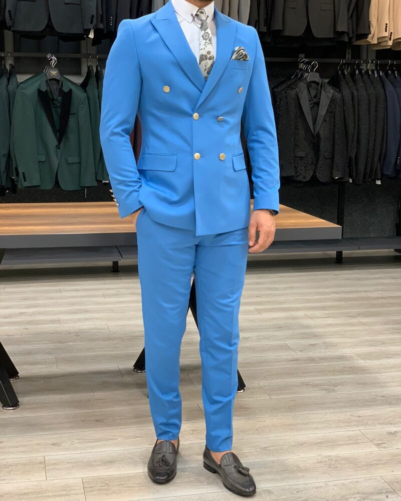 Turquoise Slim Fit Double Breasted Suit by BespokeDailyShop.com with Free Worldwide Shipping