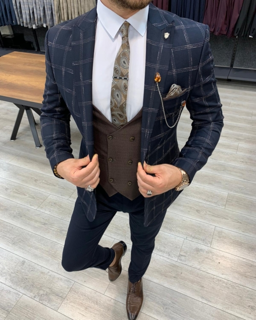 Dark Blue Slim Fit Plaid Suit by BespokeDailyShop.com with Free Worldwide Shipping