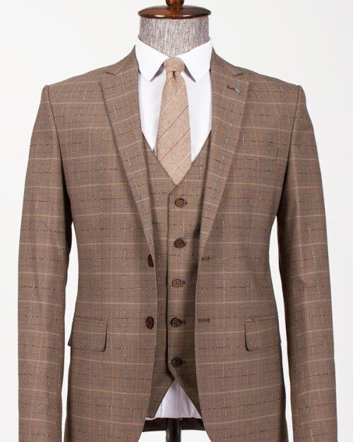 Camel Slim Fit Plaid Suit by BespokeDailyShop.com with Free Worldwide Shipping