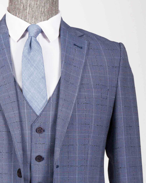 Indigo Slim Fit Plaid Suit by BespokeDailyShop.com with Free Worldwide Shipping