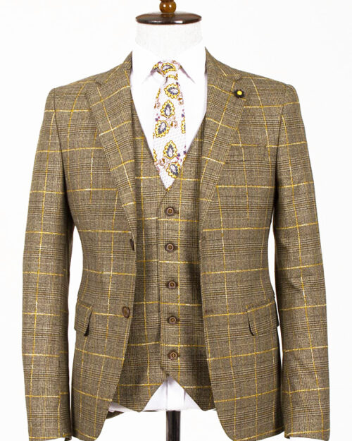 Yellow Slim Fit Plaid Suit by BespokeDailyShop.com with Free Worldwide Shipping