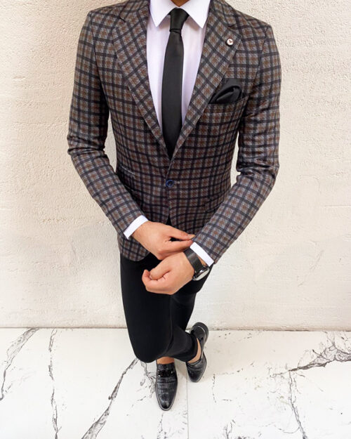 Brown Slim Fit Plaid Blazer by BespokeDailyShop.com with Free Worldwide Shipping
