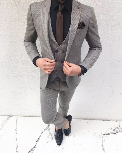 Light Brown Slim Fit Suit by BespokeDailyShop.com with Free Worldwide Shipping