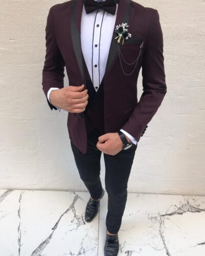 Claret Red Slim Fit Peak Lapel Tuxedo by BespokeDailyShop.com with Free Worldwide Shipping