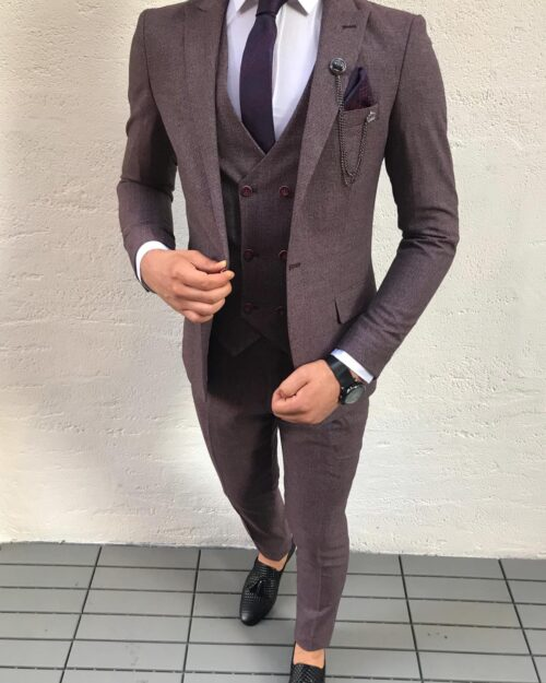 Claret Red Slim Fit Suit by BespokeDailyShop.com with Free Worldwide Shipping
