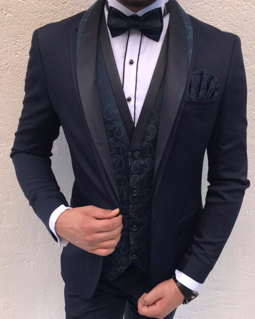 Dark Blue Slim Fit Peak Lapel Tuxedo by BespokeDailyShop.com with Free Worldwide Shipping
