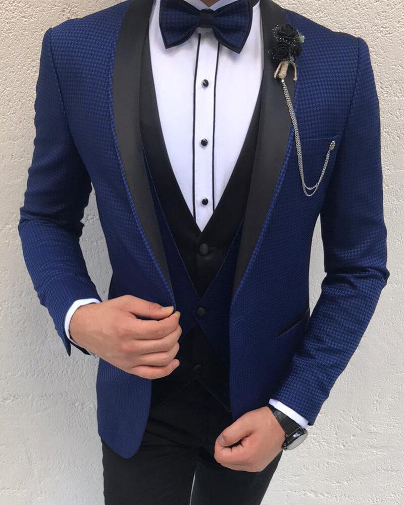 Navy Blue Slim Fit Shawl Lapel Tuxedo by BespokeDailyShop.com with Free Worldwide Shipping