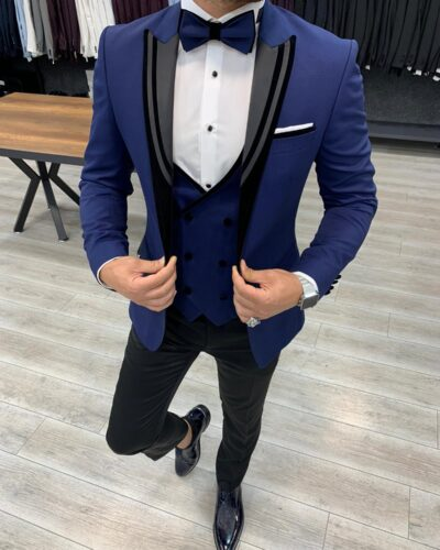 Blue Slim Fit Peak Lapel Tuxedo by BespokeDailyShop.com with Free Worldwide Shipping