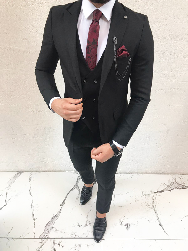 Black Slim Fit Suit by BespokeDailyShop.com with Free Worldwide Shipping