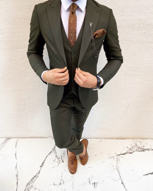 Green Slim Fit Suit by BespokeDailyShop.com with Free Worldwide Shipping
