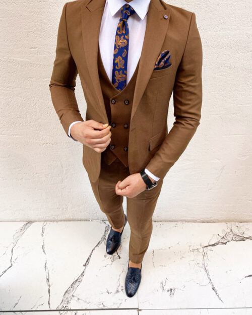 Tan Slim Fit Suit by BespokeDailyShop.com with Free Worldwide Shipping