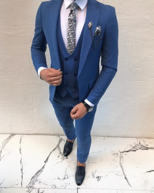 Blue Slim Fit Suit by BespokeDailyShop.com with Free Worldwide Shipping