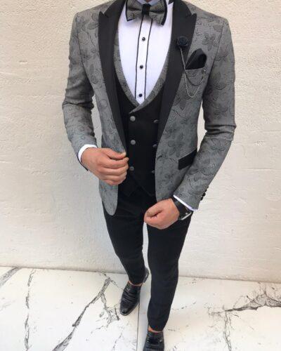 Gray Slim Fit Peak Lapel Tuxedo by BespokeDailyShop.com with Free Worldwide Shipping