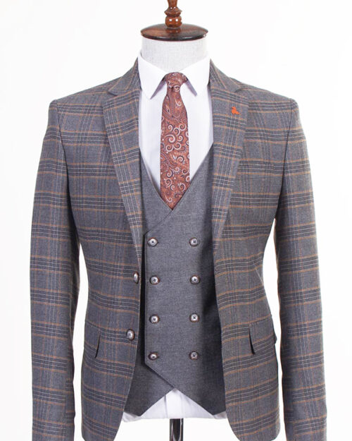 Gray Slim Fit Plaid Suit by BespokeDailyShop.com with Free Worldwide Shipping