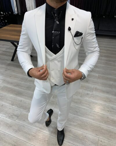 White Slim Fit Wool Suit by BespokeDailyShop.com with Free Worldwide Shipping