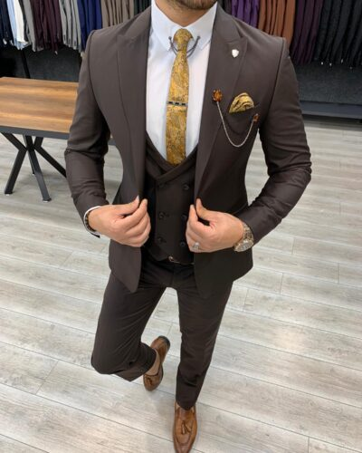 Coffee Slim Fit Wool Suit by BespokeDailyShop.com with Free Worldwide Shipping