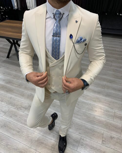 Cream Slim Fit Wool Suit by BespokeDailyShop.com with Free Worldwide Shipping