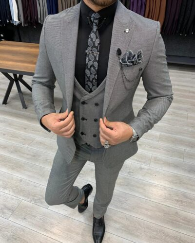 Gray Slim Fit Wool Suit by BespokeDailyShop.com with Free Worldwide Shipping