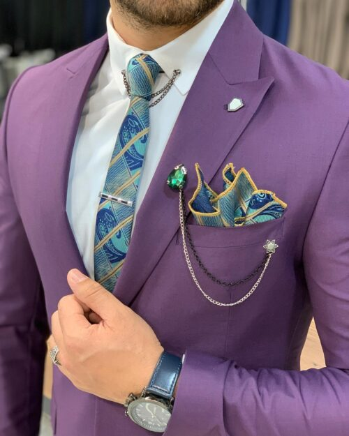 Purple Slim Fit Wool Suit by BespokeDailyShop.com with Free Worldwide Shipping