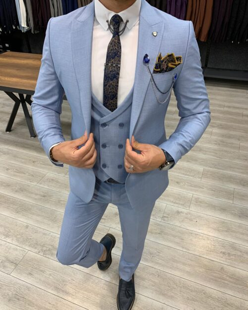 Sky Blue Slim Fit Wool Suit by BespokeDailyShop.com with Free Worldwide Shipping