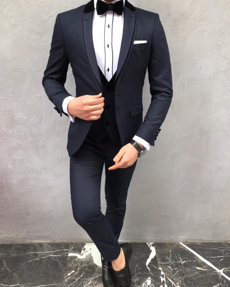 Navy Blue Slim Fit Notch Lapel Tuxedo by BespokeDailyShop.com with Free Worldwide Shipping