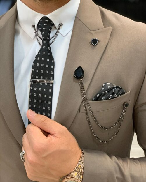 Brown Slim Fit Wool Suit by BespokeDailyShop.com with Free Worldwide Shipping