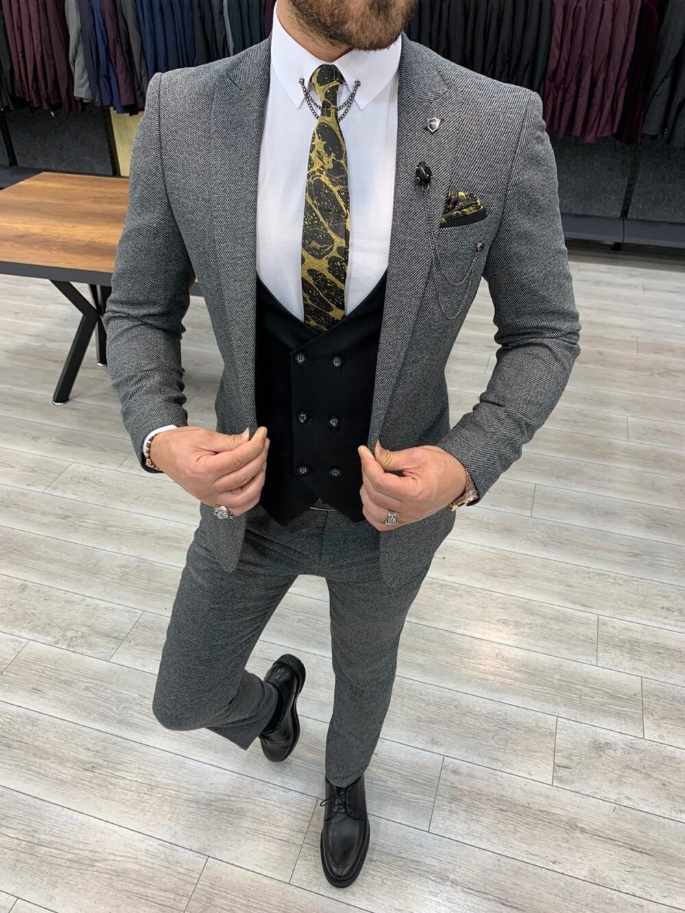 Gray Slim Fit Suit by BespokeDailyShop.com with Free Worldwide Shipping