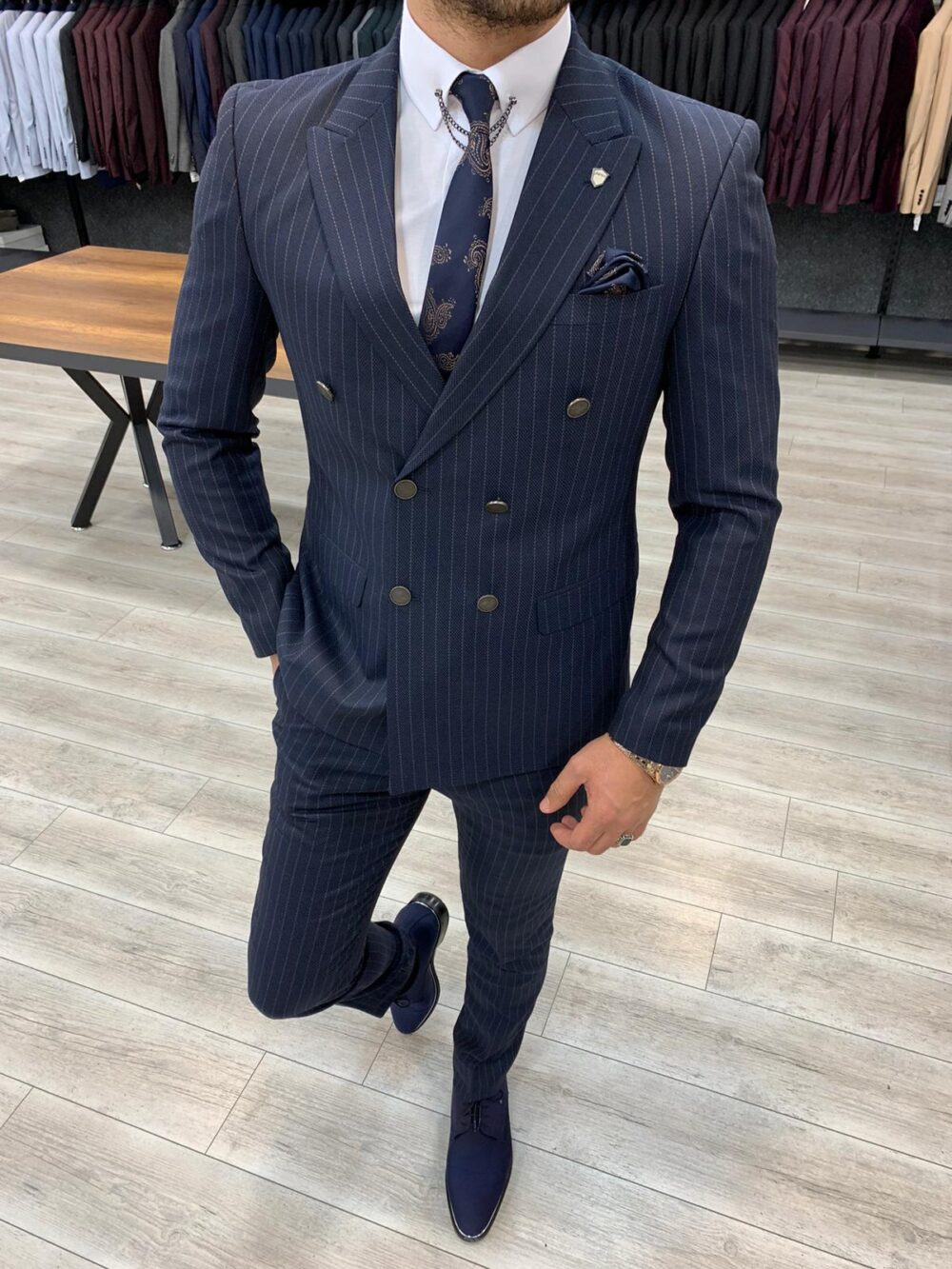 Navy Blue Slim Fit Double Breasted Pinstripe Suit by BespokeDailyShop.com with Free Worldwide Shipping