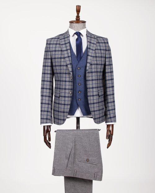 Navy Blue Slim Fit Plaid Suit by BespokeDailyShop.com with Free Worldwide Shipping