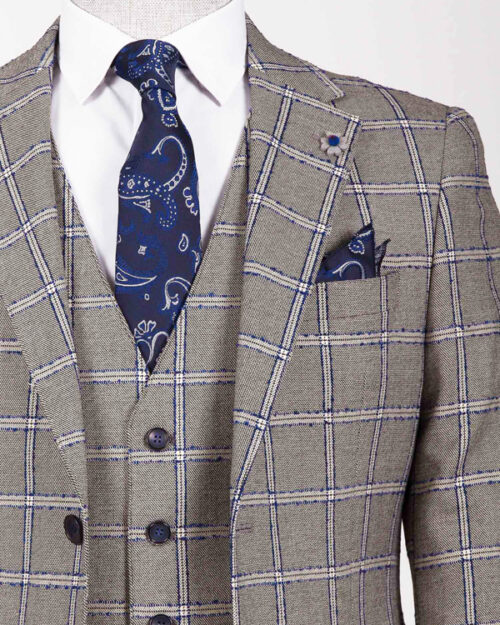 Blue Slim Fit Plaid Suit by BespokeDailyShop.com with Free Worldwide Shipping