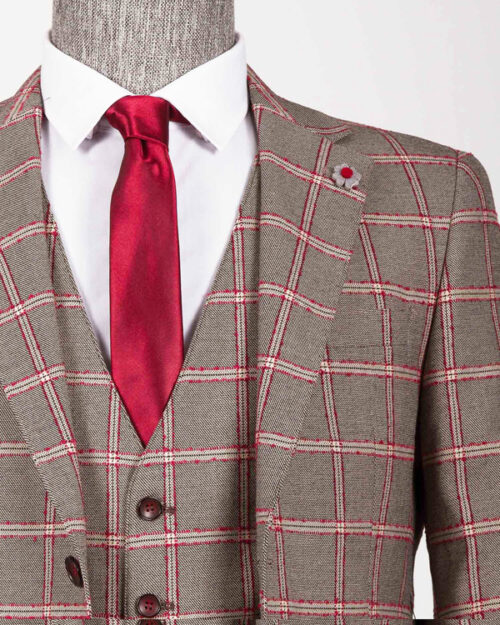 Burgundy Slim Fit Plaid Suit by BespokeDailyShop.com with Free Worldwide Shipping