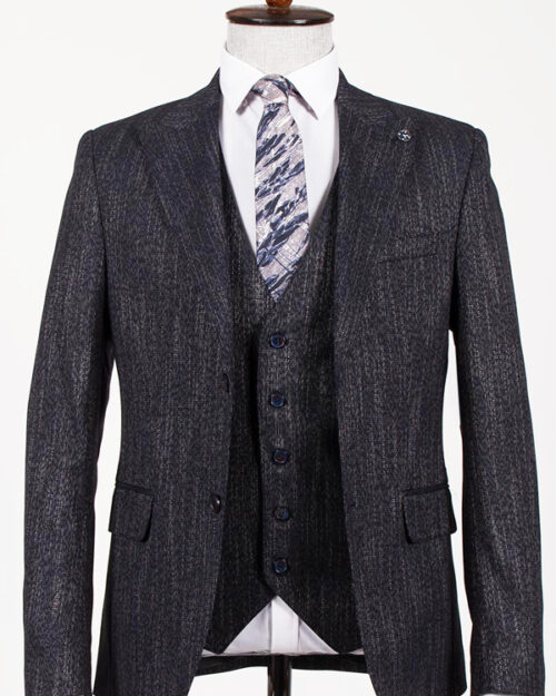 Navy Blue Slim Fit Suit by BespokeDailyShop.com with Free Worldwide Shipping