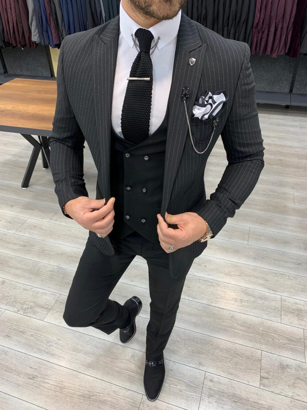 Black Slim Fit Pinstripe Suit by BespokeDailyShop.com with Free Worldwide Shipping