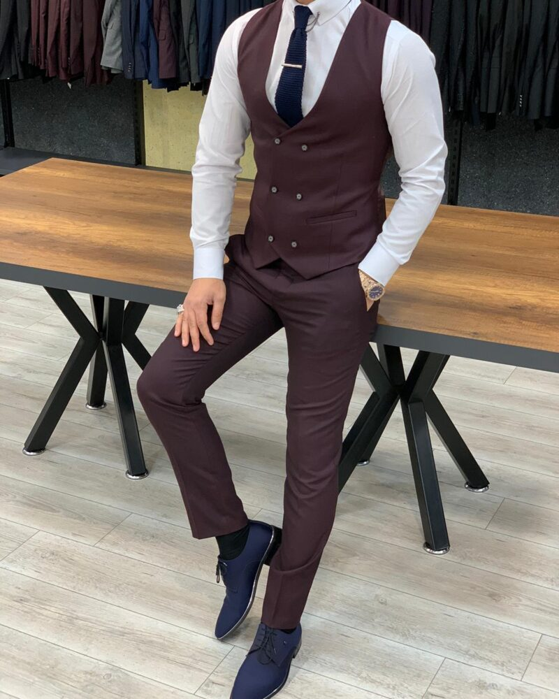 Burgundy Slim Fit Pinstripe Suit by BespokeDailyShop.com with Free Worldwide Shipping