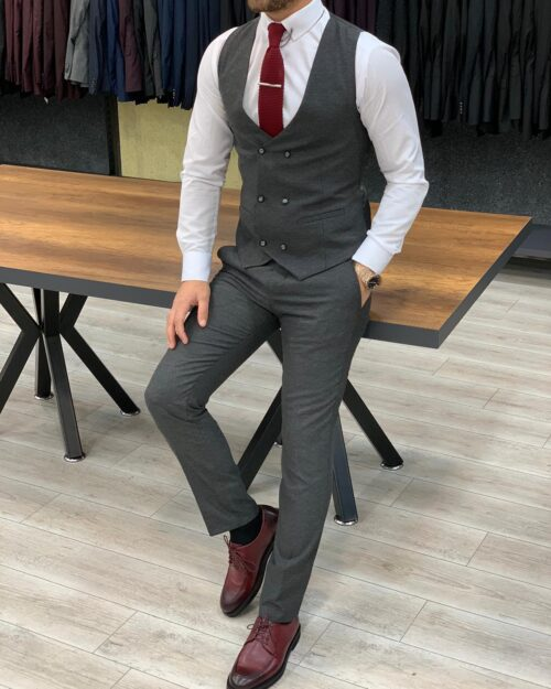 Gray Slim Fit Pinstripe Suit by BespokeDailyShop.com with Free Worldwide Shipping