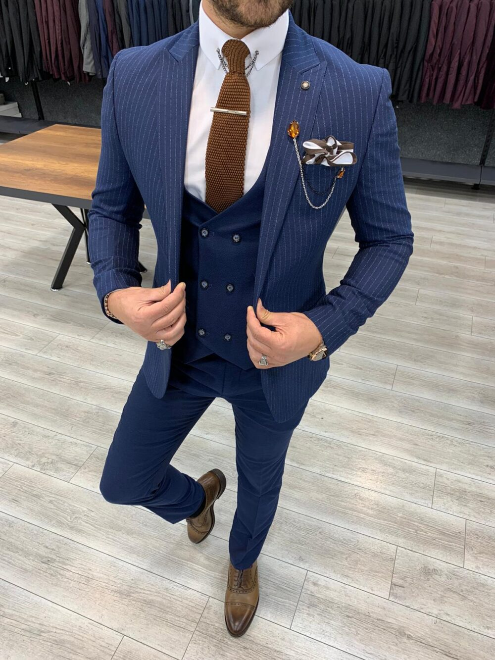 Navy Blue Slim Fit Pinstripe Suit by BespokeDailyShop.com with Free Worldwide Shipping