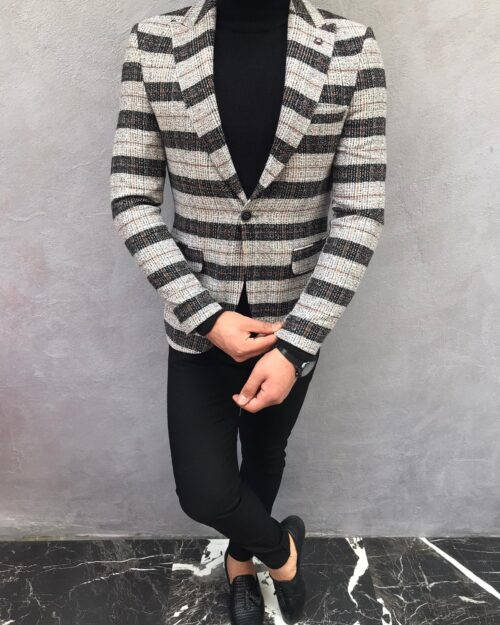 Black Slim Fit Plaid Wool Blazer by BespokeDailyShop.com with Free Worldwide Shipping