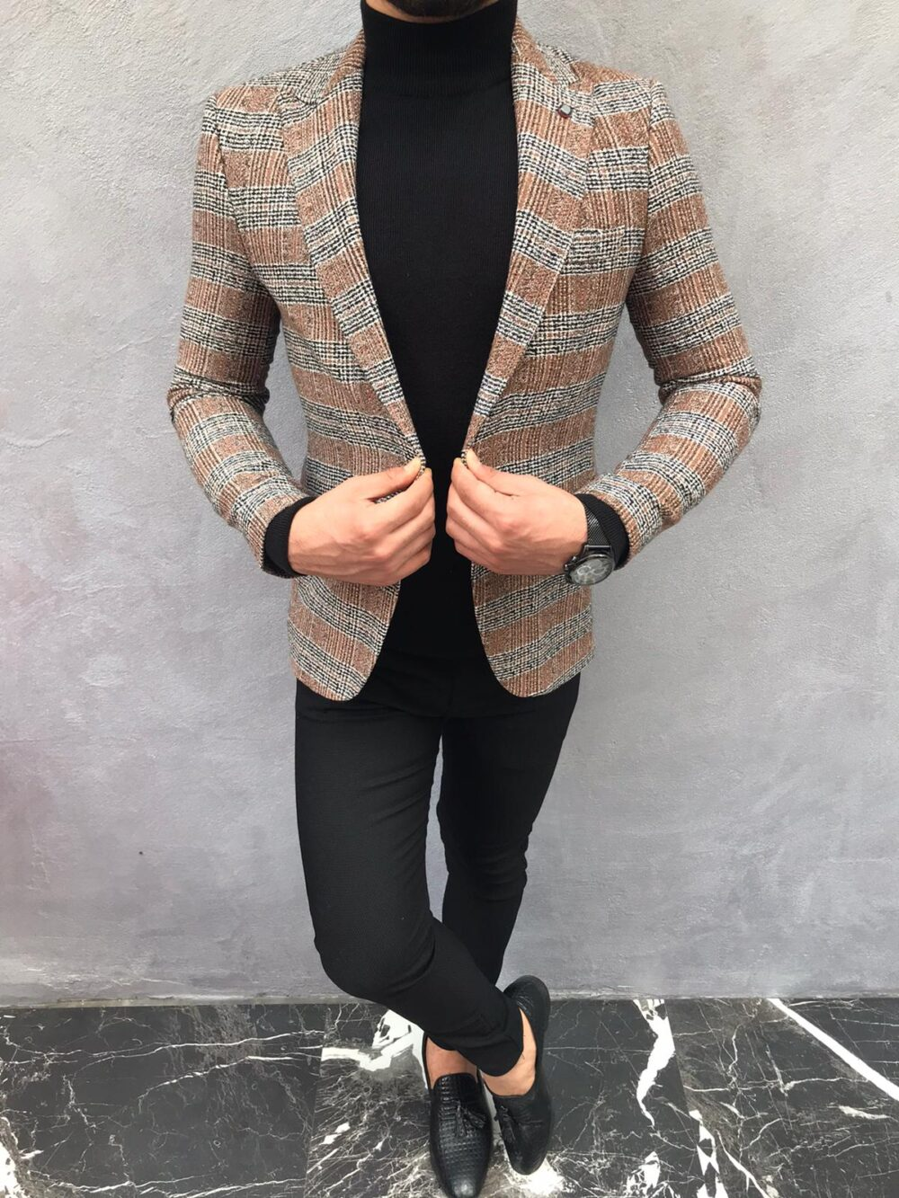 Brown Slim Fit Plaid Wool Blazer by BespokeDailyShop.com with Free Worldwide Shipping