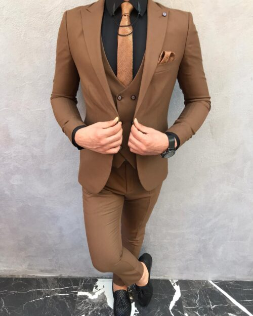 Brown Slim Fit Suit by BespokeDailyShop.com with Free Worldwide Shipping