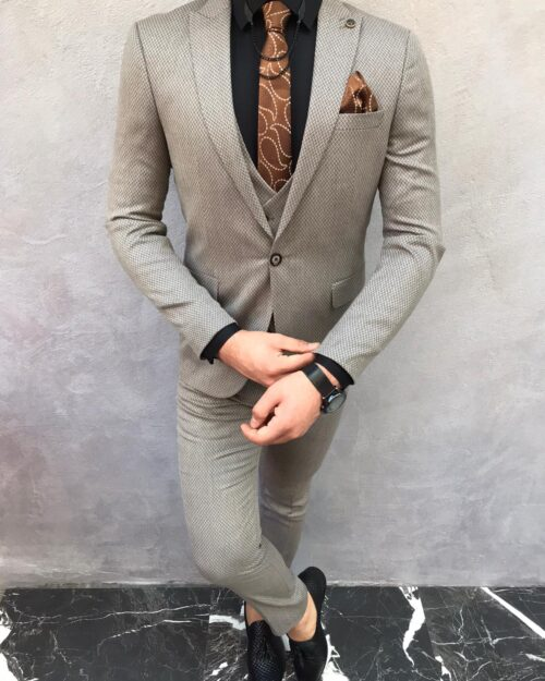 Cream Slim Fit Suit by BespokeDailyShop.com with Free Worldwide Shipping